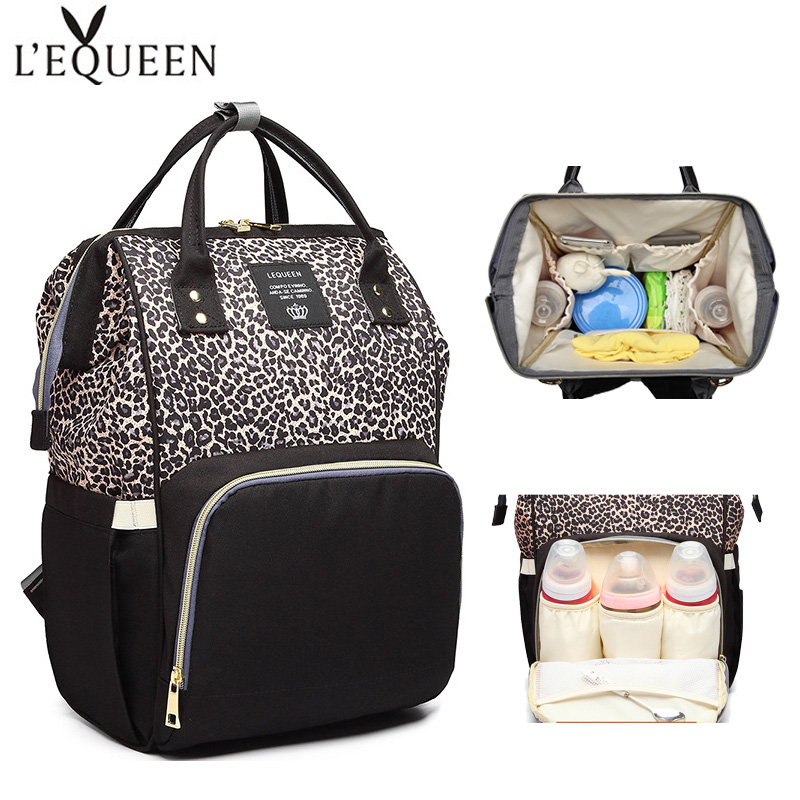 Lequeen Baby Diaper Backpack Large Capacity Newborn Mummy Bag Waterproof Nappy Bags Fashion Leopard Print Baby Care Backpacks
