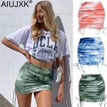 AIUJXK 2021 Fashion Knitted Bodycon Skirt Women Tie Dye Print High Waist Bandage Mini Skirts Female Sexy Casual Jupe Short