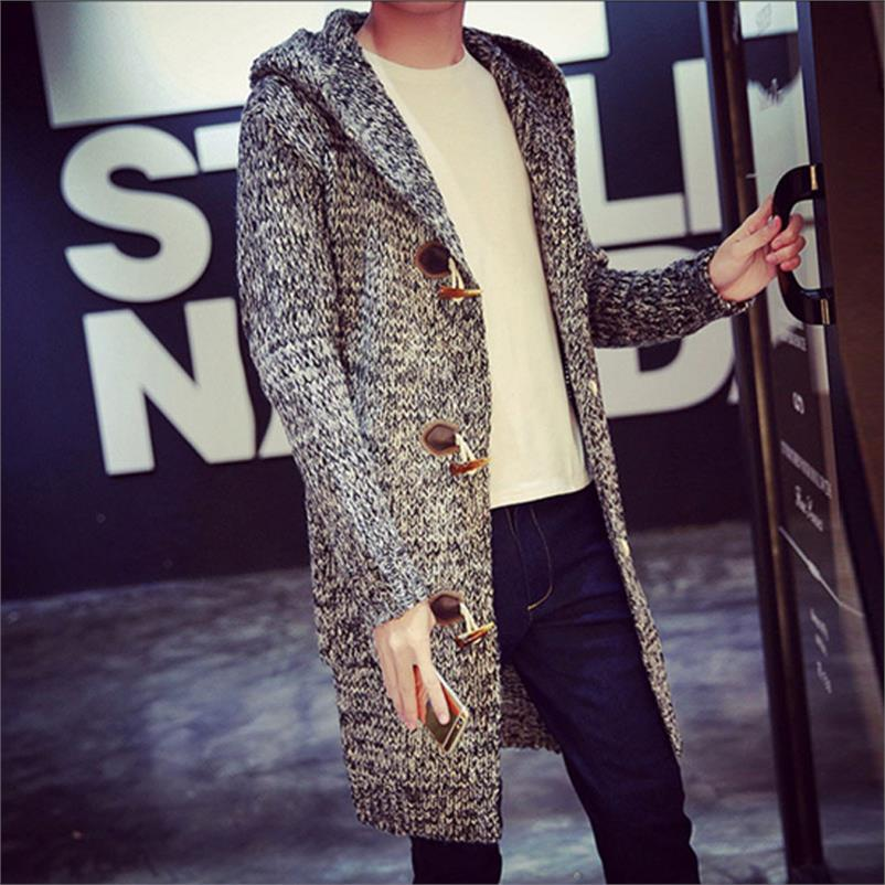 Warme Trui Mannen 2018 Herfst Winter mannen Lange Gebreide Vest Hooded Sweater Overjas Effen Kleur Mid lengte Stijl hoody Jas - 4