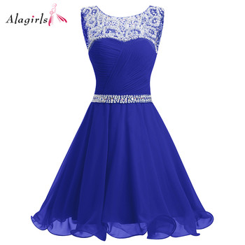 Royal Blue Short Homecoming Dress 2020 Mini Beaded Chiffon Homecoming Gowns Short Graduation Dresses Gowns Prom Dresses 2020 light sky blue lace graduation short prom dresses bateau neck satin ruched mini homecoming party cocktail dress for girls