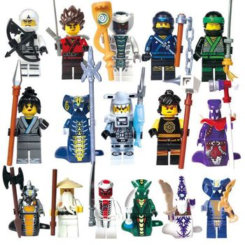 16PCS Ninja Set Masters of Spinjitzu Jay Cole Kai Zane Lloyd Nya Mini Toy Doll Figure Building Block Brick Toy Gift lepin 06052 1010pcs ninja super hero explosive device hulkbuster building block compatible 70615 brick toy
