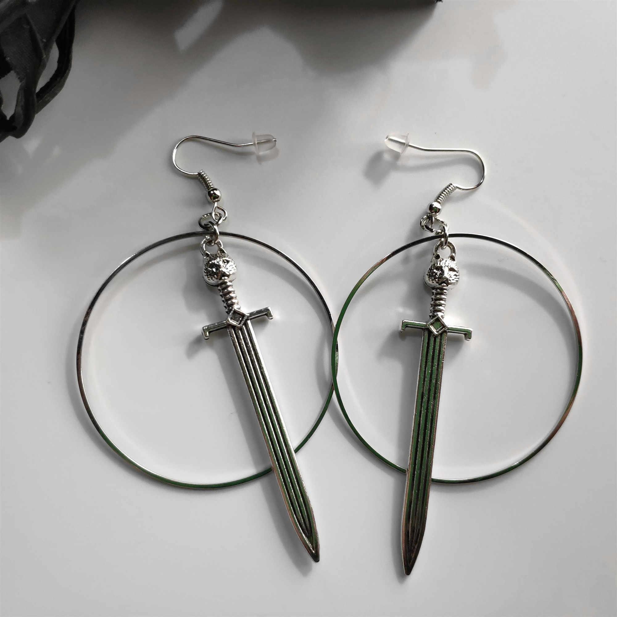 Espada brincos de argola brincos guerreiro grande gato espada brincos com aros prata espada brincos gótico presentes clássicos para mulher