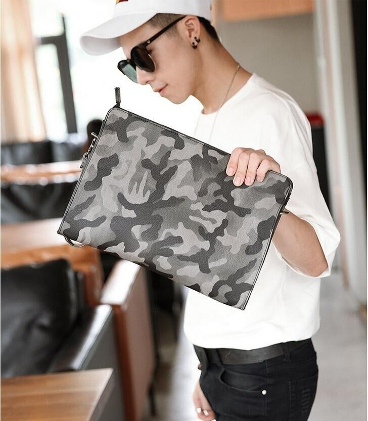 Новинка, мужская кожаная сумка, камуфляжный стиль, конверт, клатч, мужская сумка через плечо, повседневный деловой клатч, дизайнерский клатч