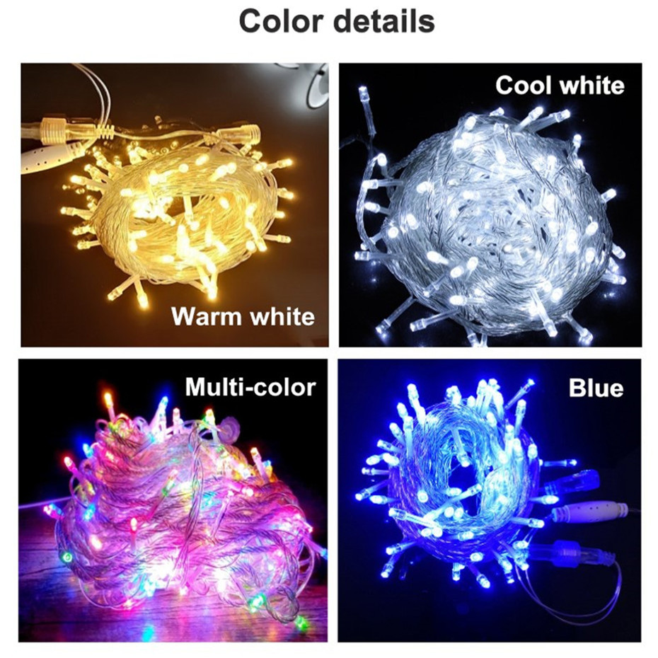 20/30/50/100M Safety LED Street Garland Low Voltage String Light Outdoor Decor For Garden House Square Christmas 24V EU US Plug 6
