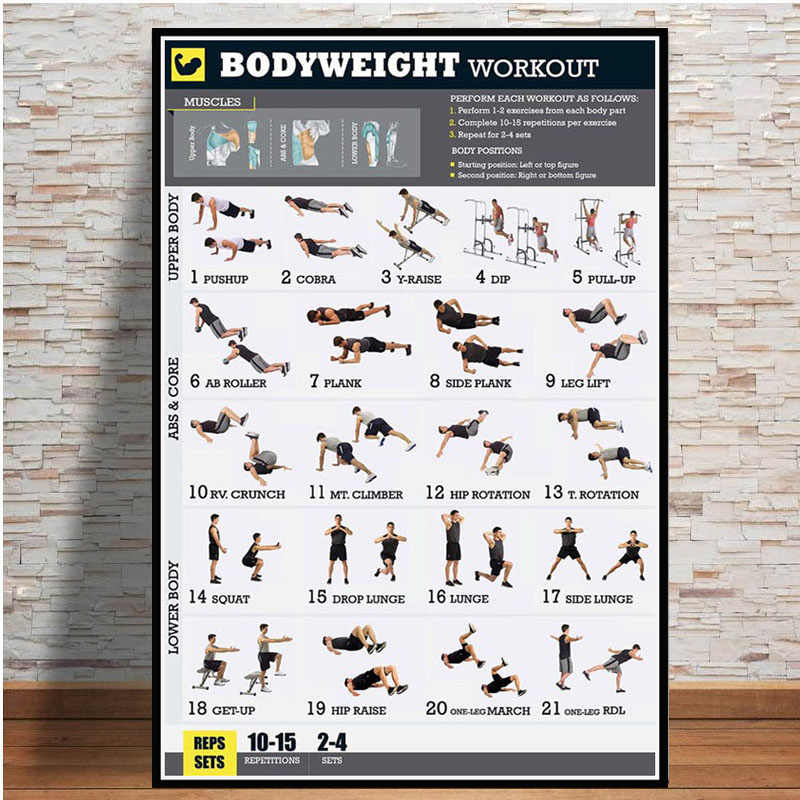 Dumbbell Workout Bodybuilding Fitness Girl Yoga Chart Hot Poster K-113