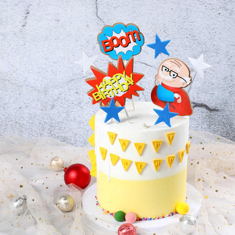 Surprising Cartoon Super Grandpa Grandma Super Hero Theme Happy Birthday Cake Personalised Birthday Cards Bromeletsinfo