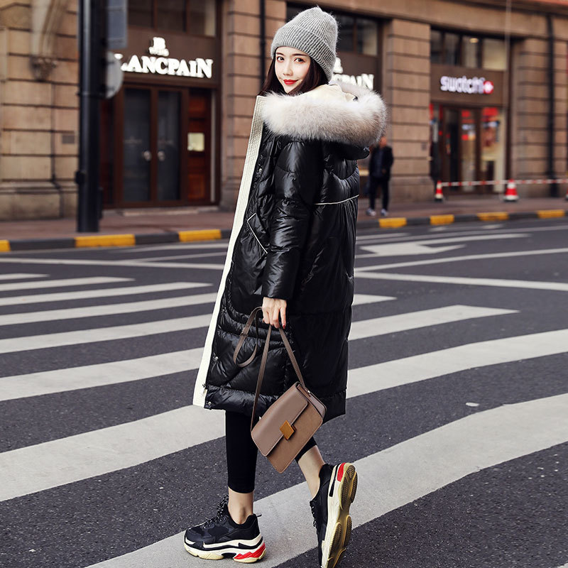 Winter 2020 Coat Women Duck Down Jacket Woman Hooded Warm Raccoon Fur Collar Korean Doudoune Femme Hiver Q XM7216 KJ2664