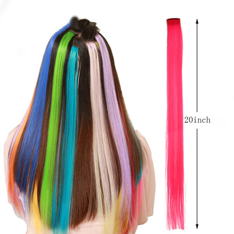 CHARMING Long Straight color Hair 20 inch Piece Hair Extensions Clip Rainbow Hair Streak Pink Synthetic Hair Strands on Clips 2