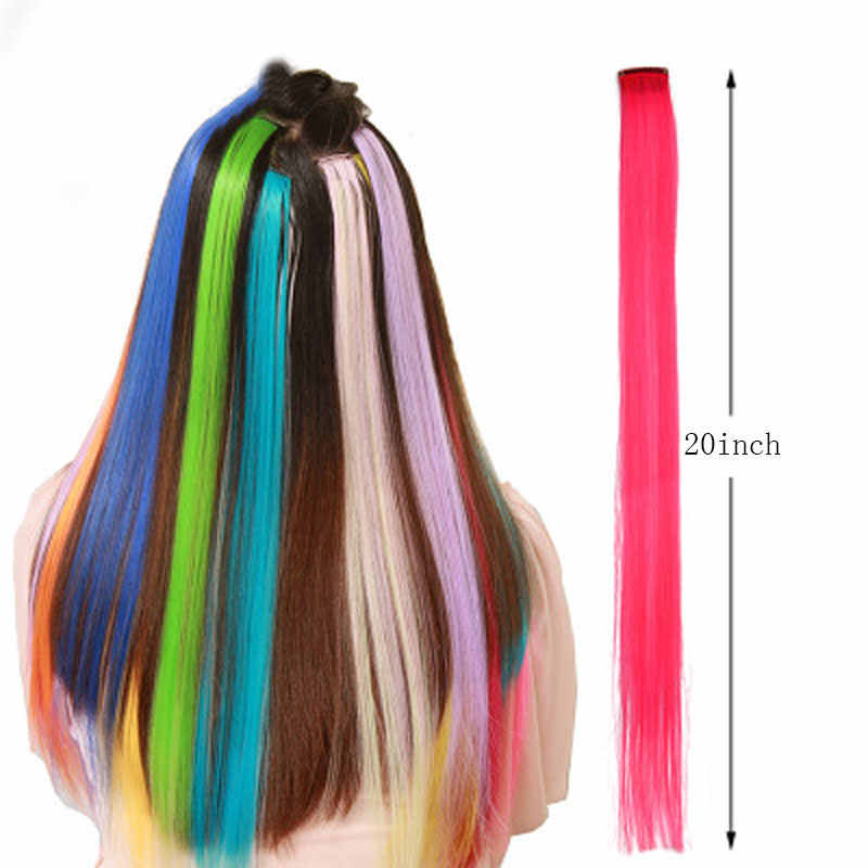 Charmant Lange Rechte Kleur Haar 20 Inch Stuk Hair Extensions Clip Regenboog Haar Streak Roze Synthetisch Haar Strengen Op Clips