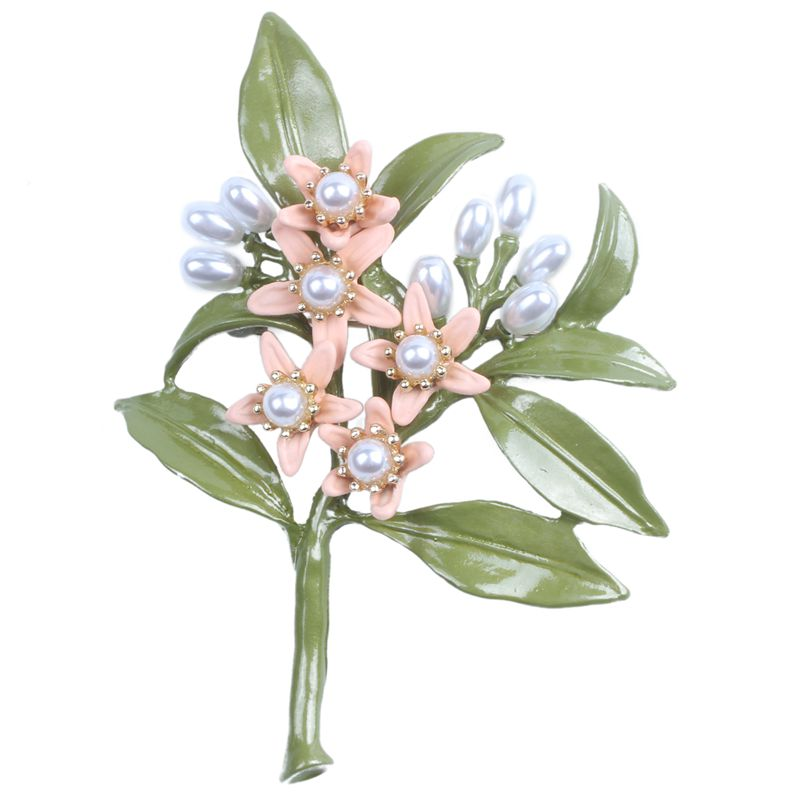 Hot New Design Vintage Brooch Jewelry Orange Flower Tree Brooches Natural Pearls Brooch Scarves Buckle Accessories