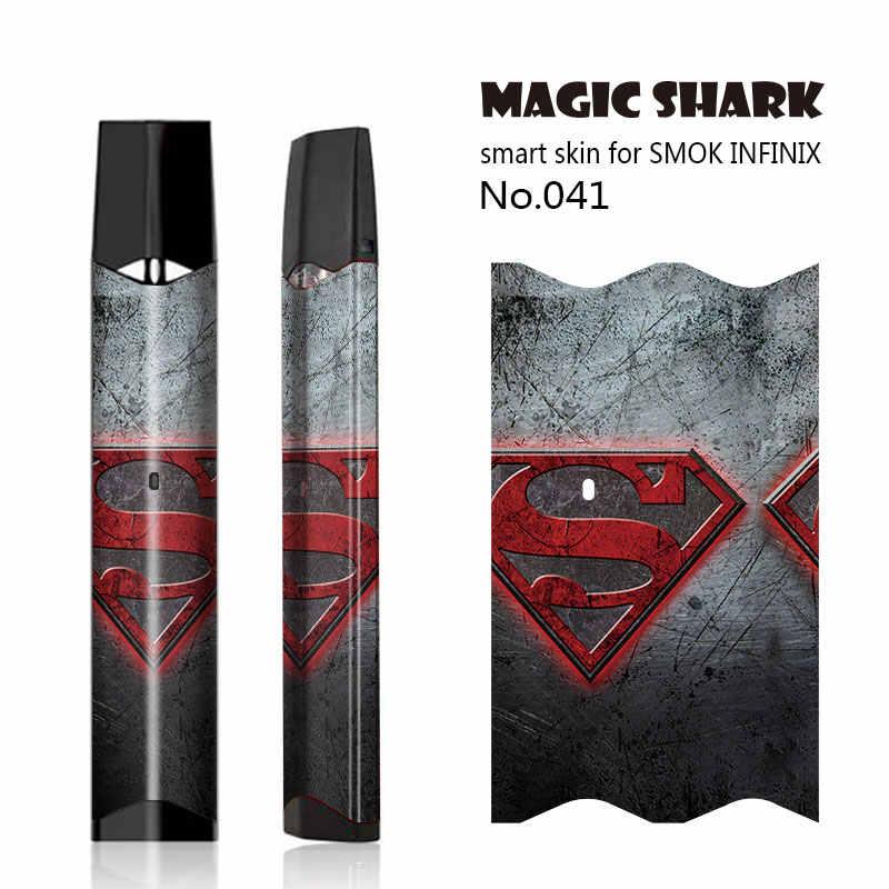 ماجيك القرش أعجوبة DC المنتقمون باتمان الرجل الحديدي الرجل العنكبوت ثور الهيكل Vape شريط لاصق جراب هاتف جلد ل Smok Infinix