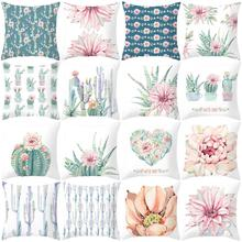 Cushion-Cover Pillowcase Plant-Pattern Square-Shape Polyester for Car-Bed Printed Washable