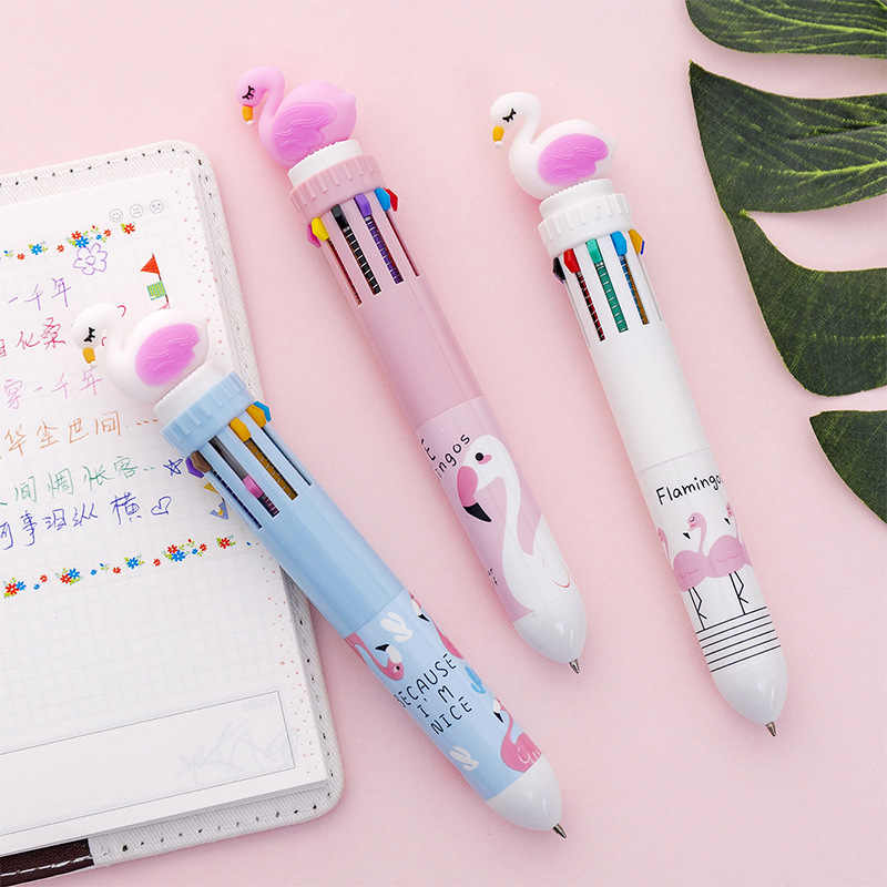 Leuke Cartoon Flamingo Kleur Tien-Kleur Pen Balpen Creatieve Studenten Multifunctionele Druk Multi-color Hand pen