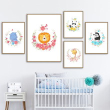 Elephant Giraffe Zebra Hippo Lion Panda Wall Art Canvas Painting Nordic Posters And Prints Pictures Baby Kids Room Decor