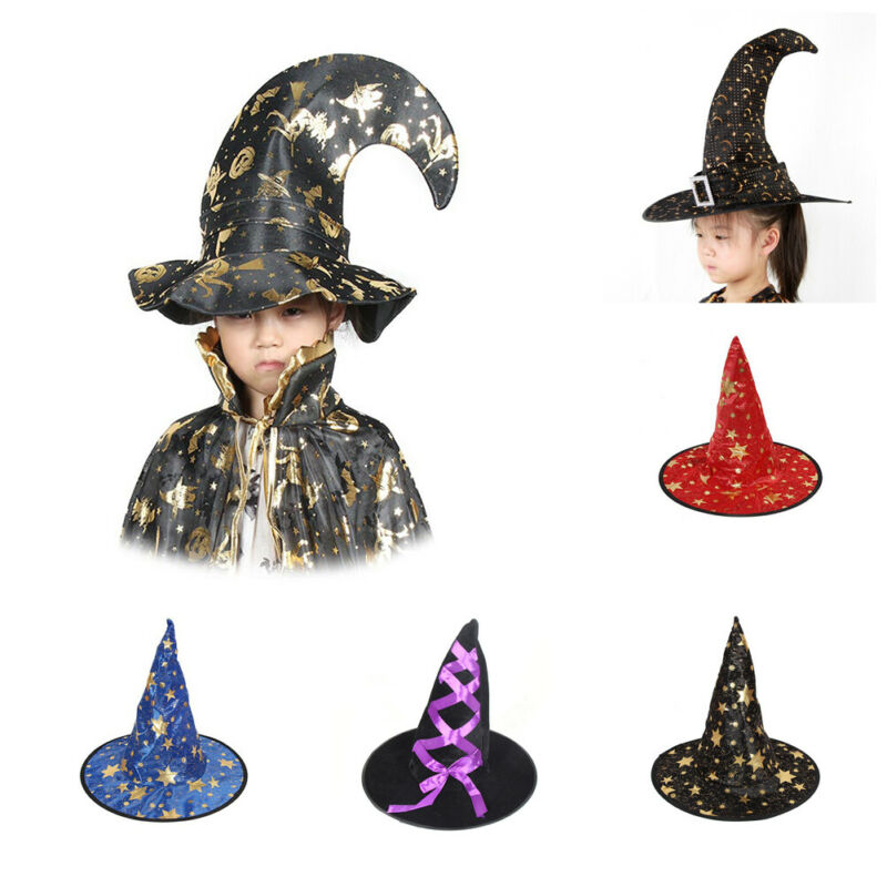 BLACK /& GOLD DECORATED WIZARD MAGICAL FANCY DRESS HAT