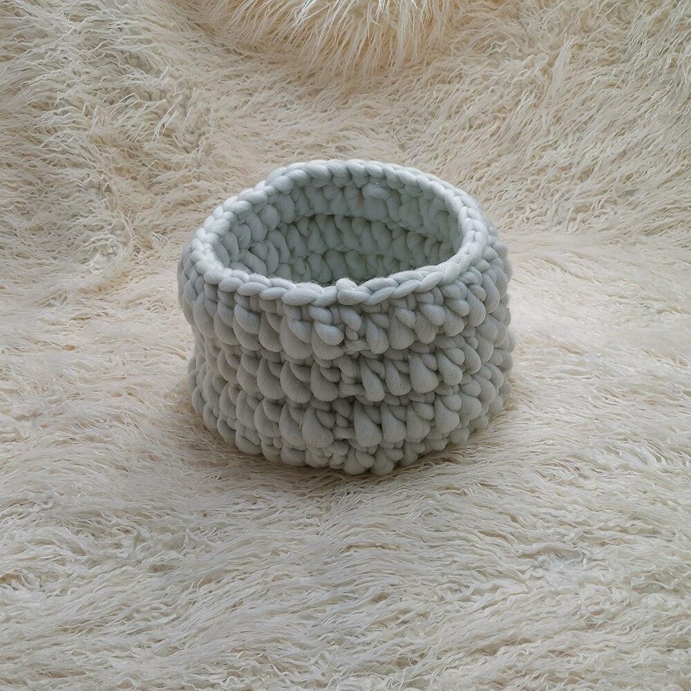 Backdrops 150 X 100 Cm Mongolia Faux Fur Long Cushion+ Basket Baby Photo Blanket Basket Knitting Braid Stuffer For Newborn Shoot