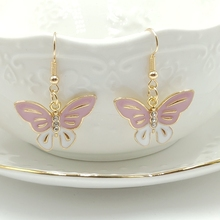 2019 Fashion Charm Pink Butterfly Jewelry Gold Earrings Boho Dynasty Pendant Girl Earings