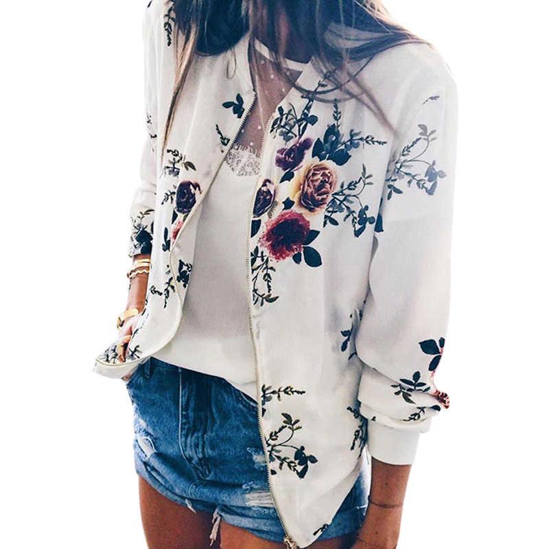 女性花柄のジャケット秋冬ジッパーアップカジュアルコート Outwears 女性の基本的なショートプラスサイズ女性 Outwears 2019