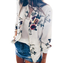 Frauen Floral Print Retro Jacke Herbst Winter Zipper Up Bomber Casual Mantel Outwears Grund Kurzen Plus Größe Weibliche Outwears 2019(China)