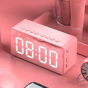 Image 2 - Портативная Bluetooth колонка с супербасами, беспроводной сабвуфер, Стереодинамик с поддержкой TF, AUX, зеркальный будильник для телефона, компьютера