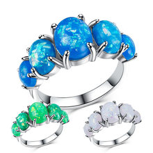 Neue Mode Damen Ring Design Kreative Opal Taube Ei Form Kupfer Vergoldet Platin Ring Frau Engagement Ring Schmuck(China)