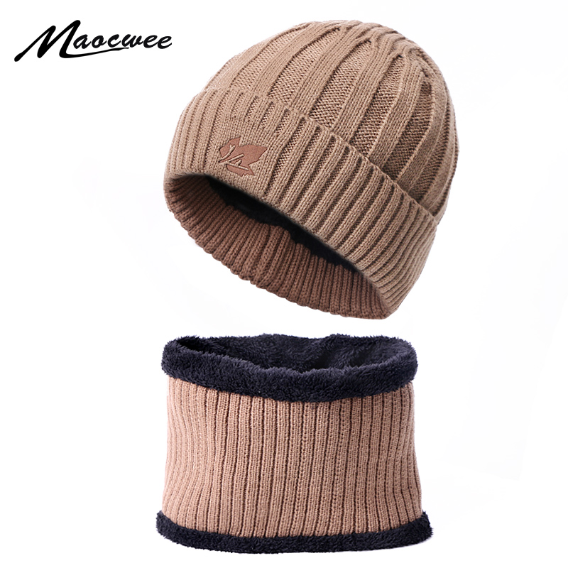 Woman's Man Hats Scarf Hat Set Unisex Girls Beanie Cap Keep Warm Winter Knitted Skullies Caps Crochet Solid Color Female Adult