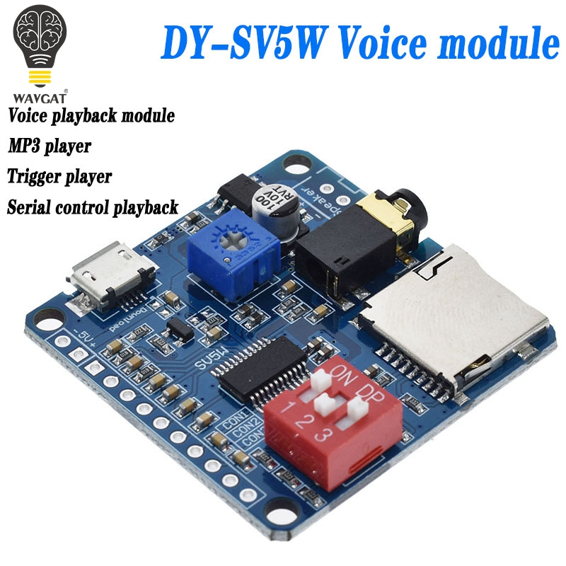 5W Smart Voice Play Module Audio Amplifier Board Mp3 TF Card Player UART Serial Port Control