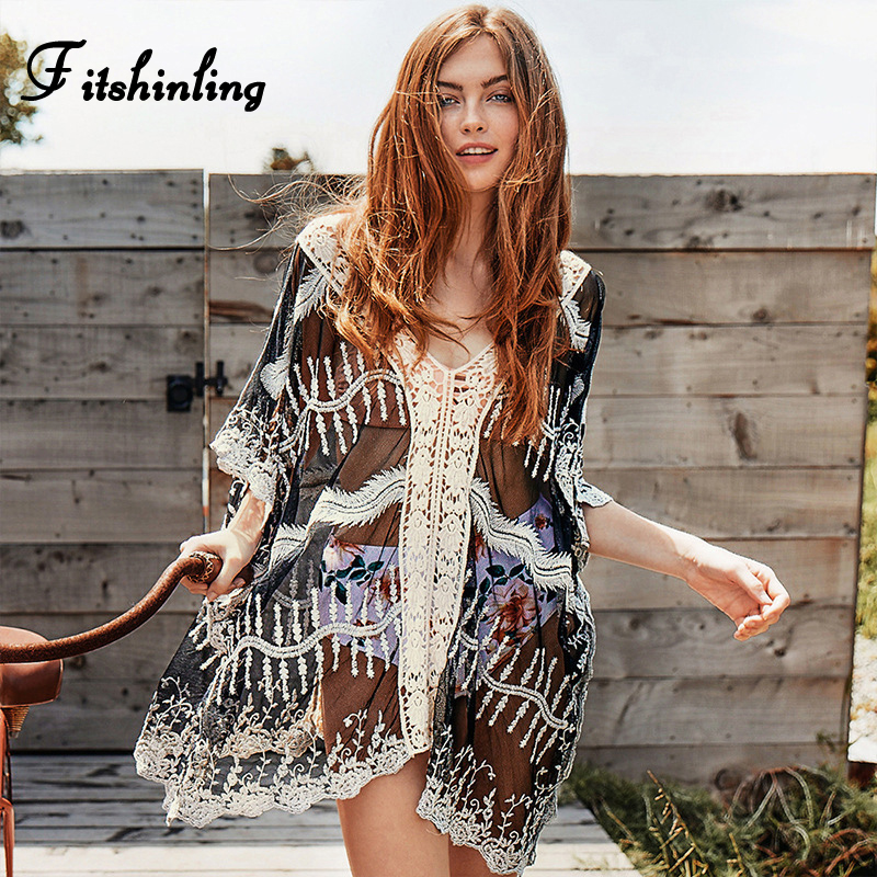Fitshinling Big Size Short Beach Dresses Women Swimwear Bohemian Batwing Sleeve Sexy Pareos See through Straight Holiday Dress
