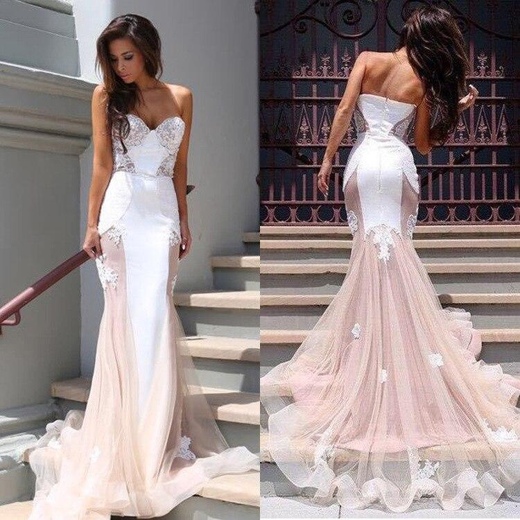 BacklakeGirls Sexy Sweetheart Neck Backless Lace Split Joint Sweep Floor Long Woman Dress Elegant Evening Dress Vestidos Noche