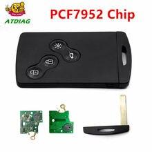 4 botão lâmina remoto chave do carro cartão fob 433 mhz pcf7952 chip 7952