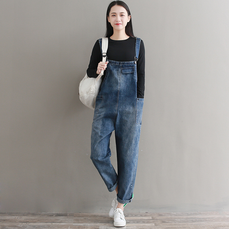 Photo Shoot 2019 Spring And Summer Literature And Art Large Size Cowboy Suspender Pants Women's Loose-Fit Casual Pants Harem Cam