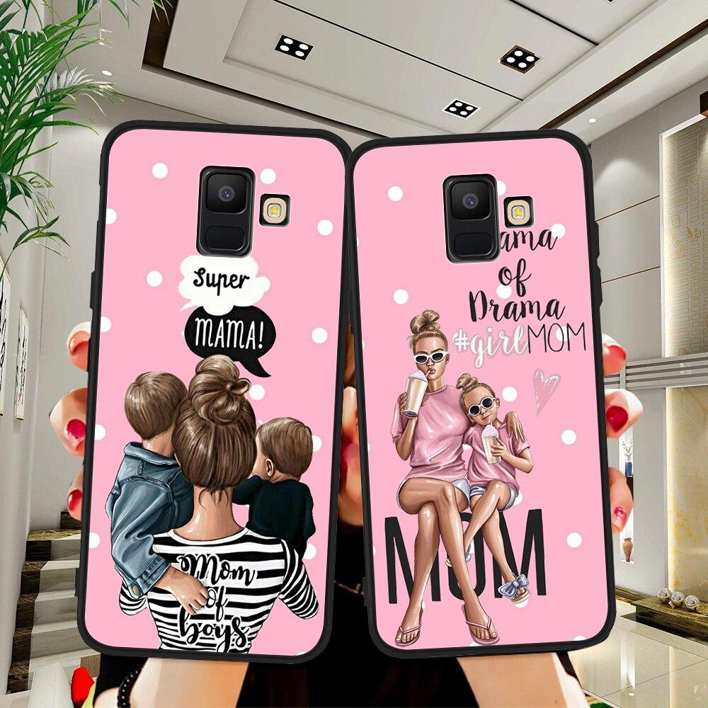 Pelo marrón bebé mamá Reina Niña para Samsung Galaxy A9 A8 A7 A6 A5 A3 J3 J4 J5 J6 J8 Plus 2017 2018 M30 A40S A10 A20E cubierta de la Caja