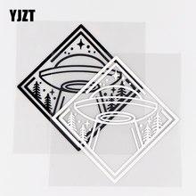 YJZT – autocollant drôle en vinyle 13.5x13.5CM, espace Et ovni, décor de carrosserie, soucoupe volante noir/argent 10A-0489