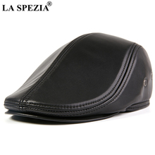 LA SPEZIA Black Men Flat Cap Sheepskin Real Leather Mens Gatsby High Quality Autumn Winer Earflaps Duckbill Ivy