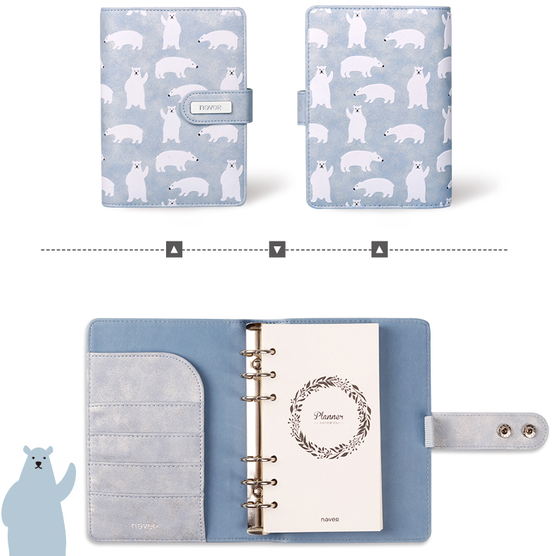 Never Polar Bear Spiral Notebooks And Journals Embossed Design Leather Cover Diary A6 Binder Planner Christmas Gift Stationery