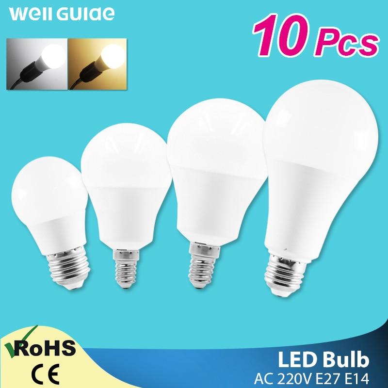 10pcs LED Lamp E14 E27 LED Bulb Dimmable 6W 9W 12W 15W 18W 20W AC 220V 240V White Lampara Aluminum Table Lamps Light Bombillas