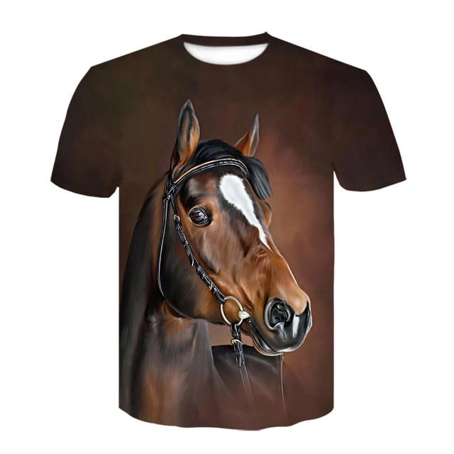 Summer New O-neck Wearing A flower Headband Horse T-Shirt 3D Fashion T Shirt Animal Clothes Men Women Large Size Tshirt Dropship 2