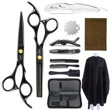 Profesyonel kuaförlük makas seti saç kesme makası berber makası berber alet pelerin saç kesme tarak Salon aksesuarları