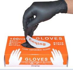 100 adet/takım ev temizleme yıkama tek kullanımlık mekanik eldiven siyah nitril laboratuvar Nail Art anti-statik eldiven