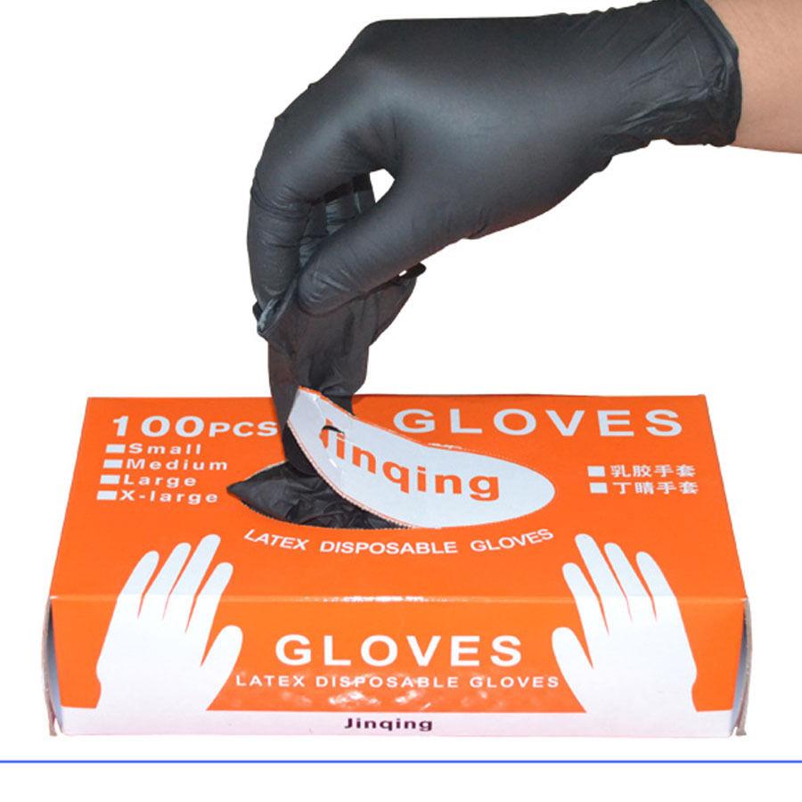 100PCS/SET Household Cleaning Washing Disposable Mechanic Gloves Black Nitrile Laboratory Nail Art Anti-Static Gloves