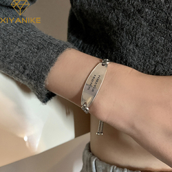 XIYANIKE 925 Sterling Silver Oval Brand Letter Bracelet Female 2021 New Fashion Adjustable Forever Friend Retro Bangle Wholesale