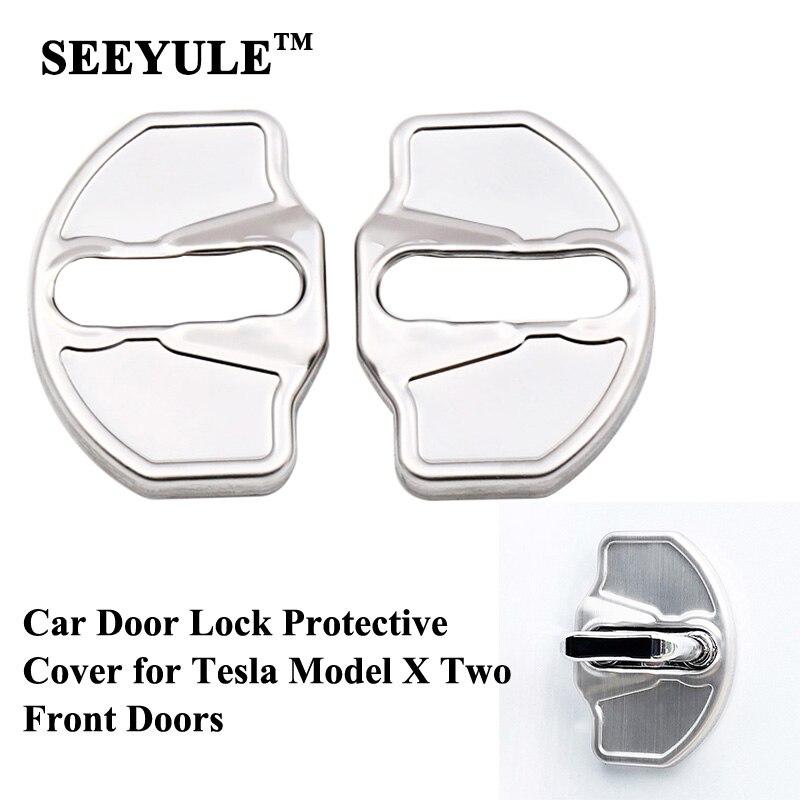 2pcs/set SEEYULE Stainless Steel Car Door Lock Protective Cover Cap Decoration Sticker Accessories For Tesla Model X 2015-2020