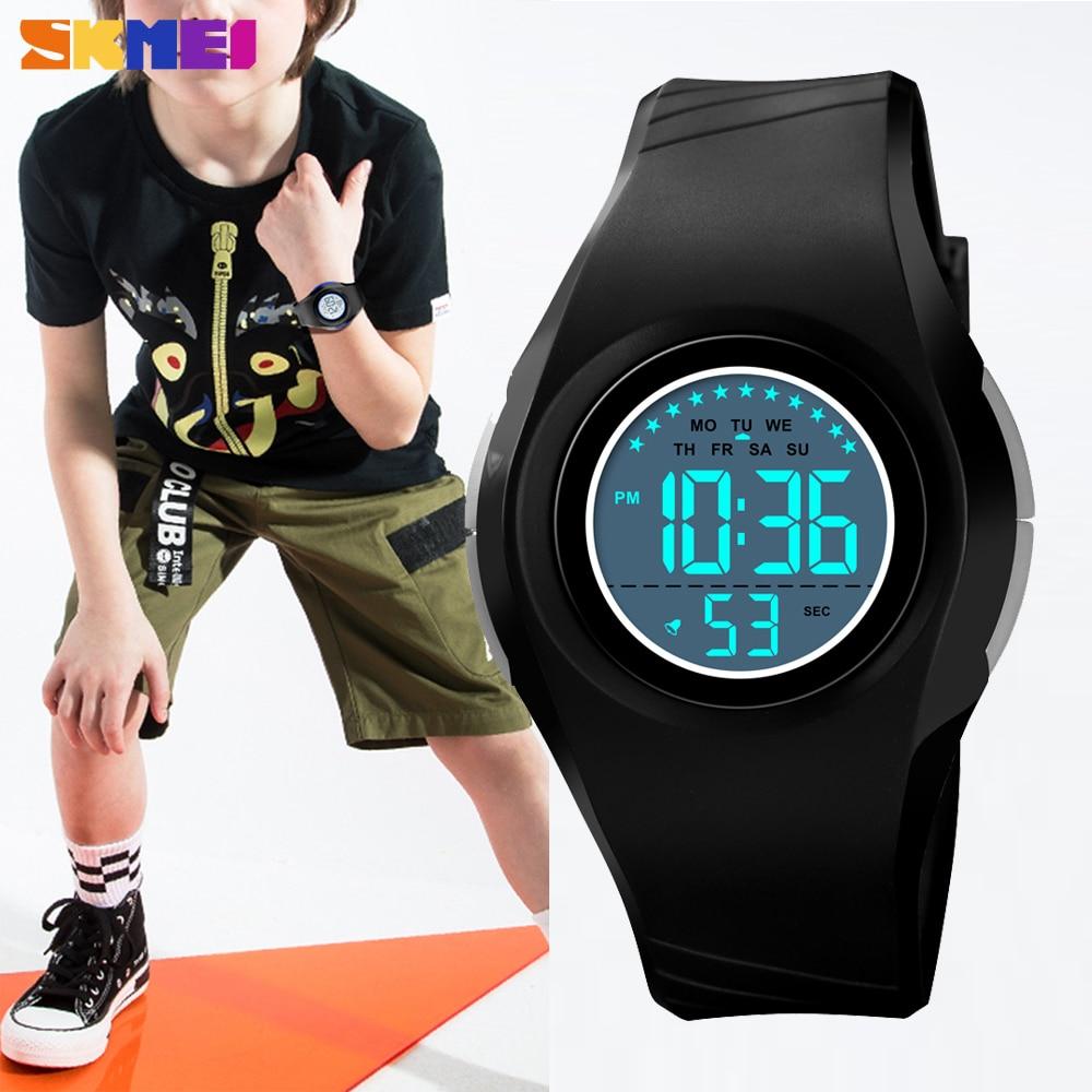SKMEI Digital Children Watches Outdoor Sport Chrono Clock Waterproof LED Light PU Strap Boys Girls Wristwatch Relogio Infantil