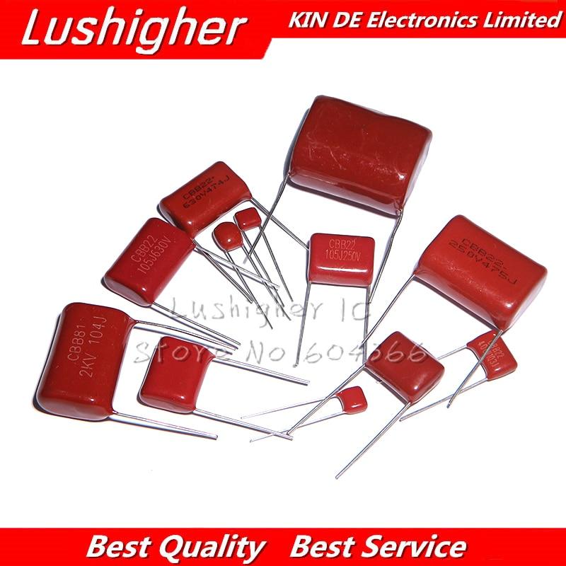10PCS 100V471J 2000V104J 250V225J 250V475J 400V104J 400V684J 450V225J 450V105J 630V223J CBB Polypropylene Film Capacitor
