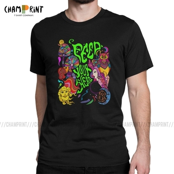 Feed Your Head T Shirts Men Fashion for Male T-Shirts Trippy Blacklight Psychedelic Tee Shirt Hippie Style Clothes New Arrival