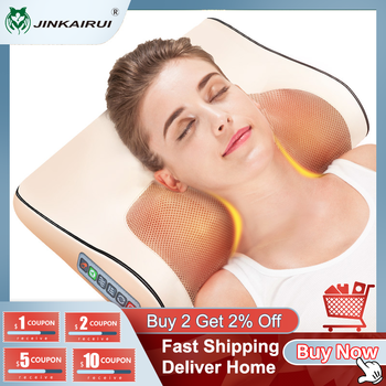 Jinkairui Infrared Heating Neck Shoulder Back Body Electric Massage Pillow Shiatsu Device Cervical Health Massageador Relaxation