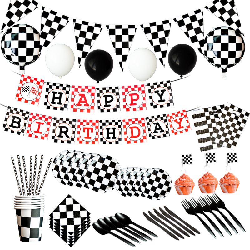 Black White Grid Racing Car Birthday Party Supplies For Kids Disposable Party Tableware Set Paper Cups Napkins Plates Tablecloth