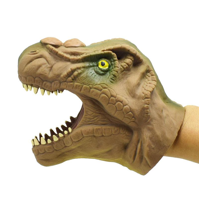 Children Funny Prank Toy Eco-friendly TPR Dinosaur Hand Puppet Tyrannosaurus Head Figure Toys Gloves Children Story Tool Gift