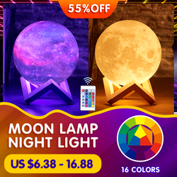 Moon Lamp Night Light 3D Print Moonlight Rechargeable Color Change Touch 16 Colors Moon Lamp For Kids Room Desk Lamp Home Decor