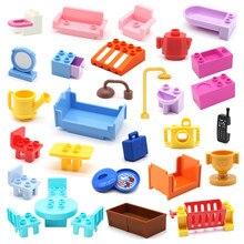 Grandes blocos de construção compatíveis tamanho grande móveis do banheiro cadeira cama mesa cozinha acessórios tijolos diy brinquedos para o presente das crianças